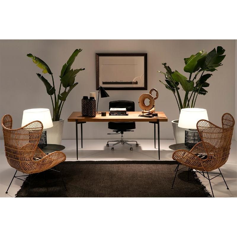 Chaise de Bureau réglable 64 x 60 x 93 99 cm Cuir Métal Noir - image 53654