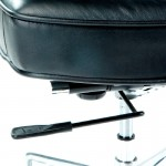 Office Adjustable Chair 64 X 60 X 93 99 Cm Leather Metal Black