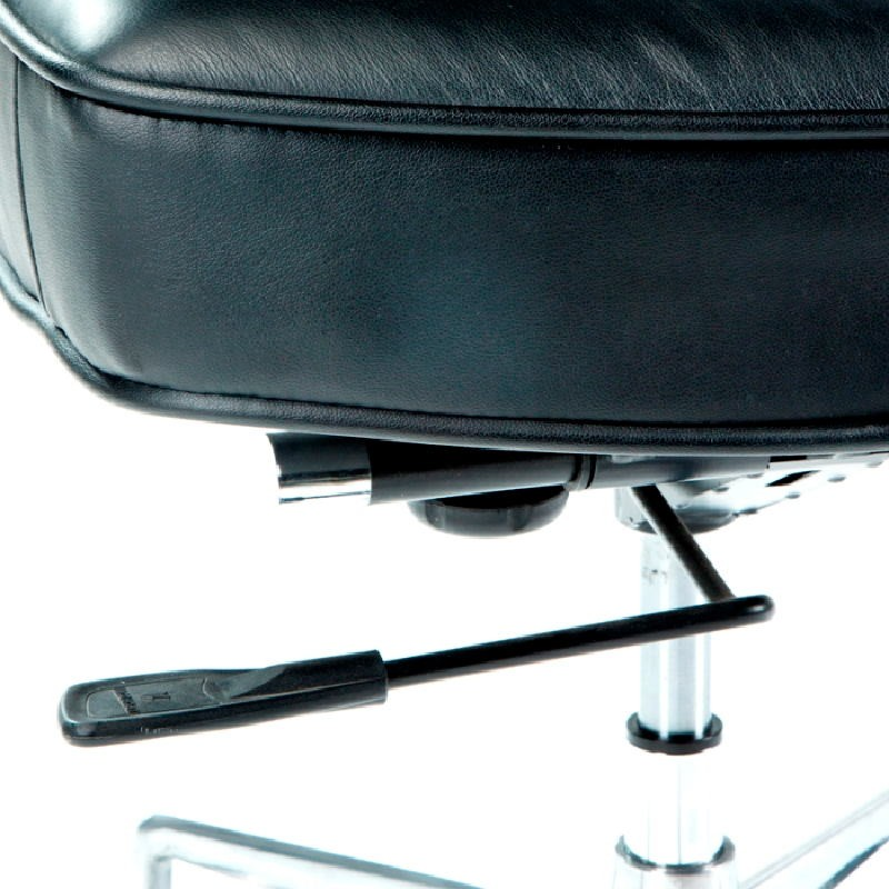 Office Adjustable Chair 64 X 60 X 93 99 Cm Leather Metal Black - image 53656