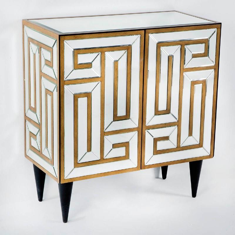 Sideboard 2 Doors 76X37X81 Mirror Mdf Golden - image 53665