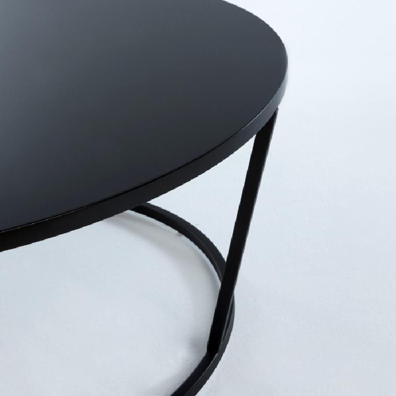 Coffee Table 90X90X35 Metal Mdf Black - image 53700