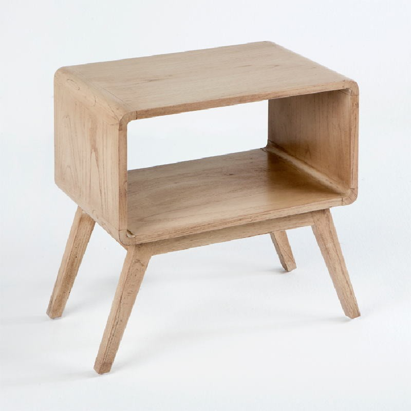 Bedside Table 50X35X51 Wood White Veiled - image 53701