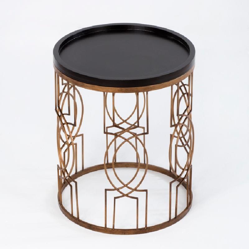Table d'appoint, bout de canapé 51x51x62 Métal Doré Bois Noir - image 53709