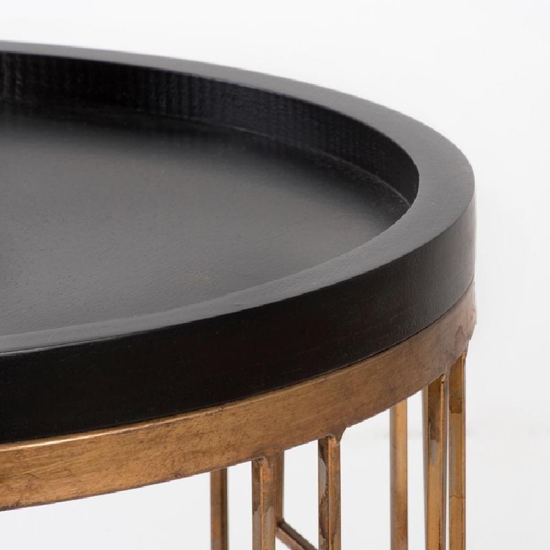 Table d'appoint, bout de canapé 51x51x62 Métal Doré Bois Noir - image 53710