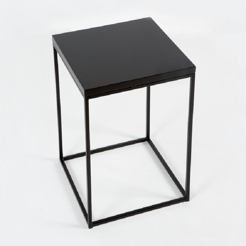 Table d'appoint, bout de canapé 48x48x70 Métal MDF Noir - image 53712
