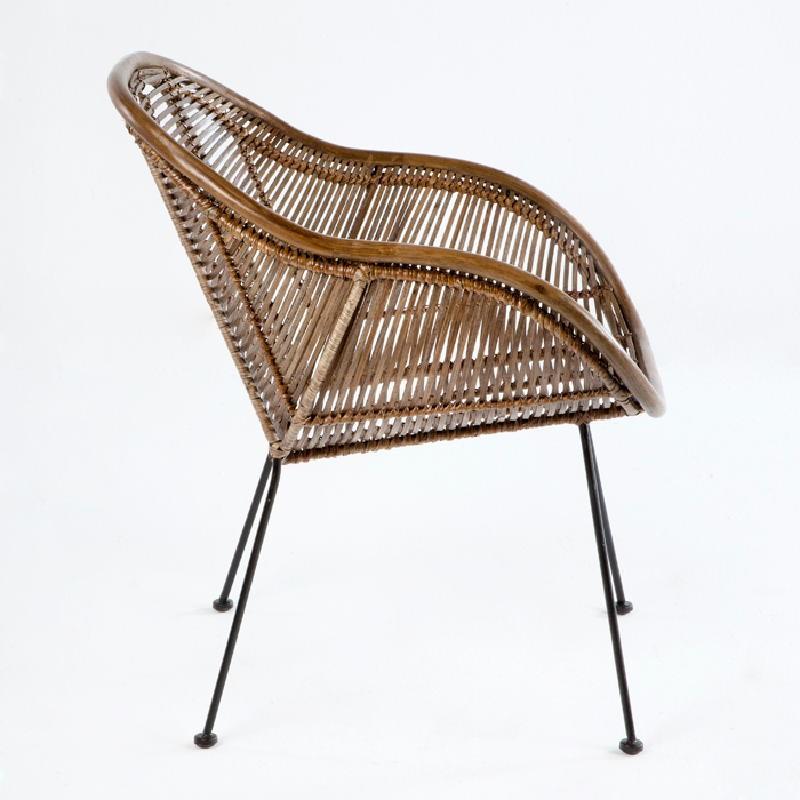 Chair 53X71X81 Metal Wicker Brown - image 53736