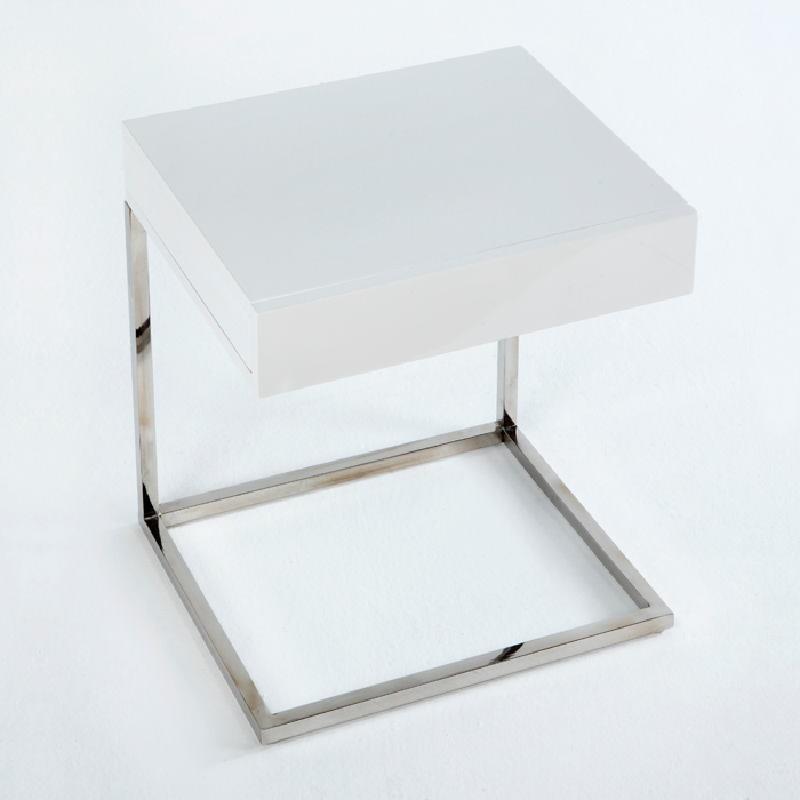 Table de chevet 50x40x54 Acier MDF Blanc