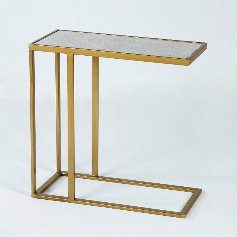 Table d'appoint, bout de canapé 62x28x61 Métal Or Miroir Vieilli - image 53767