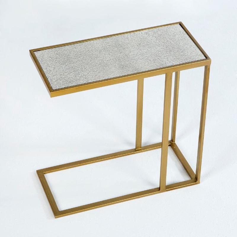 Table d'appoint, bout de canapé 62x28x61 Métal Or Miroir Vieilli - image 53768