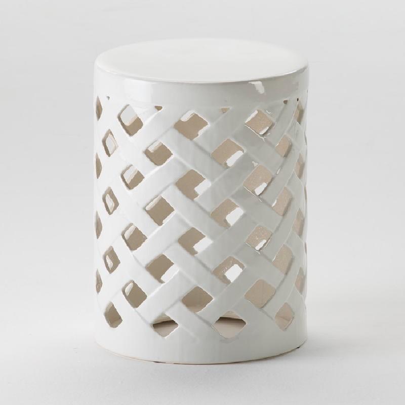 Taburete 34X47 Ceramica Blanco