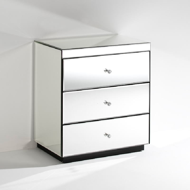 Bedside Table 3 Drawers 60X40X70 Mirror   - image 53810