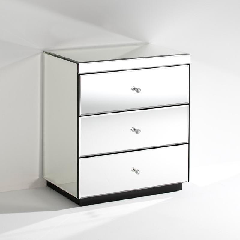 Table de chevet 3 tiroirs 60x40x70 Miroir