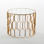 Auxiliary Table 54X43 Glass Metal Golden