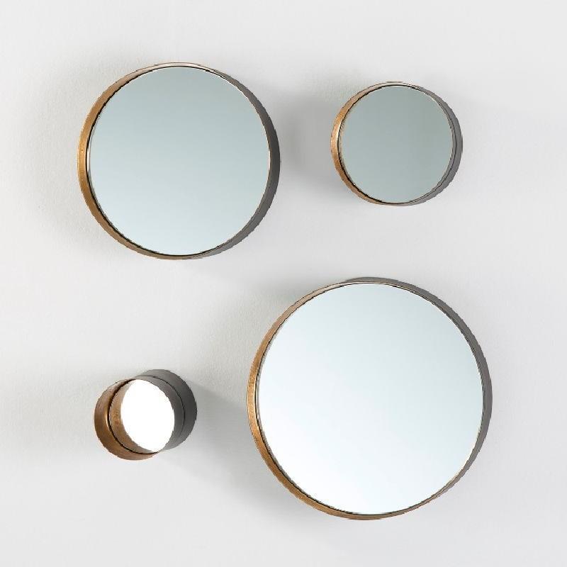 Set 4 Mirror 30X8 25X8 15X8 10X15 Metal Black Gold - image 53822
