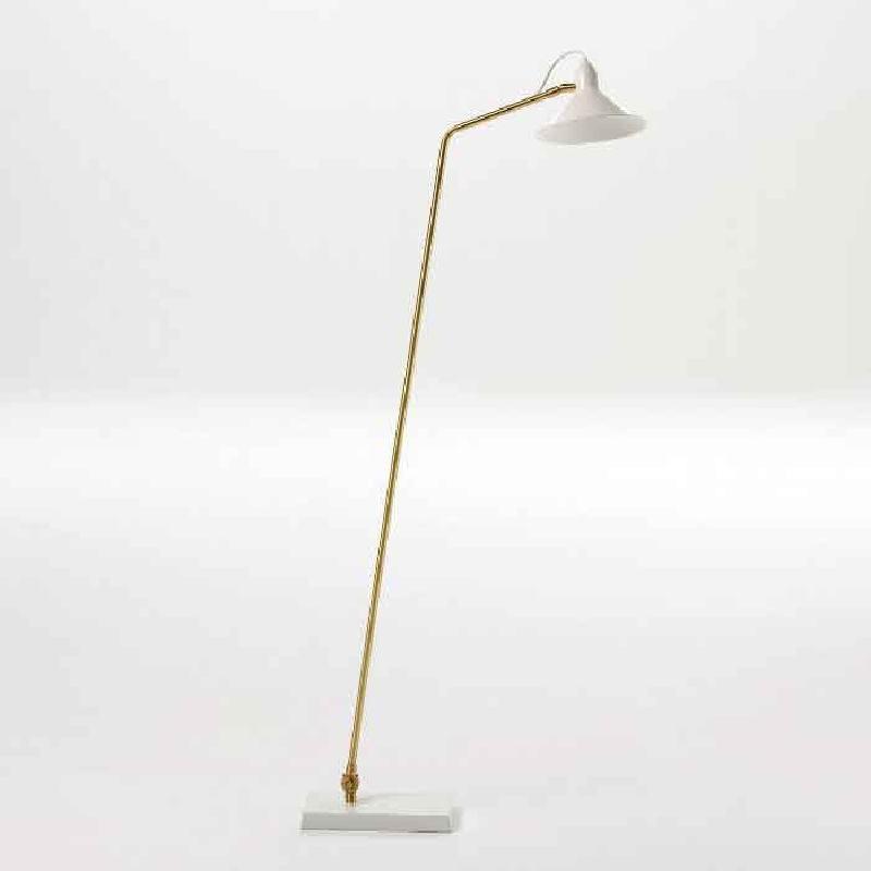 Lampadaire avec abat-jour 26x19x136 Métal Blanc Bronze - image 53826