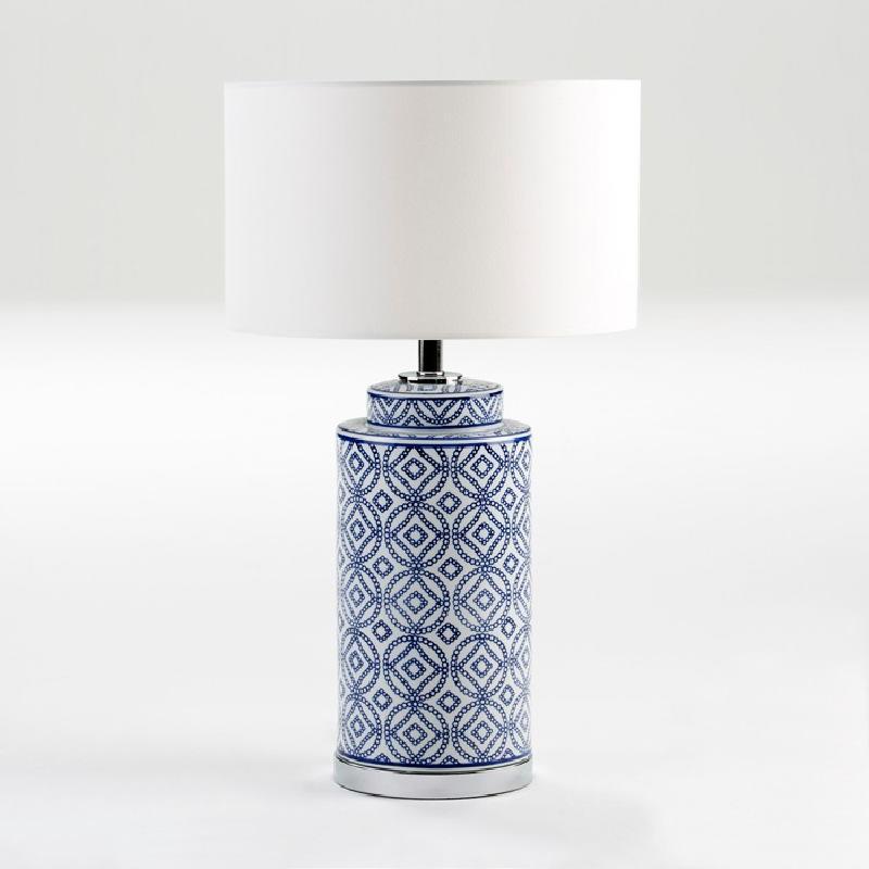 Lampe Auf Tisch Ohne Bildschirm 20X51 Keramik Weiß/Blau