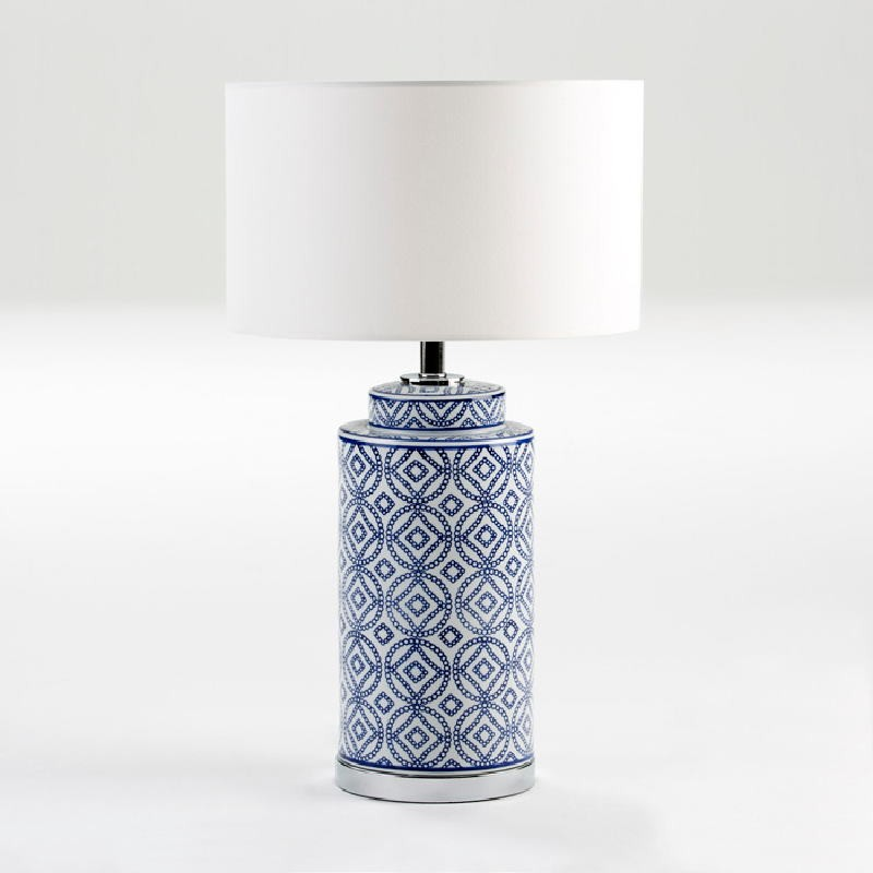 Table Lamp Without Lampshade 20X51 Ceramic White Blue - image 53840