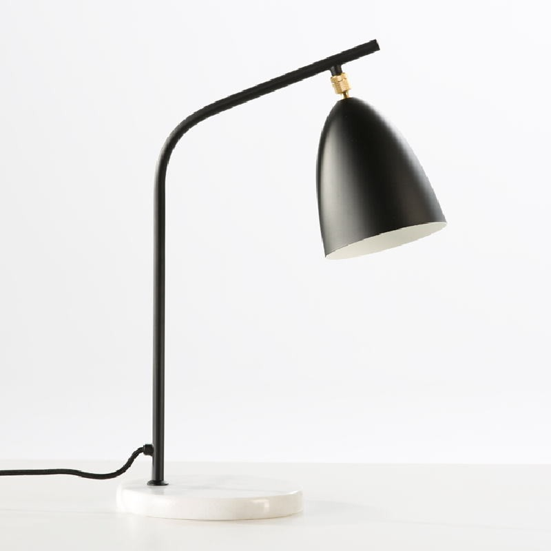 Table Lamp With Lampshade 37X22X54 Marble Metal Black - image 53854