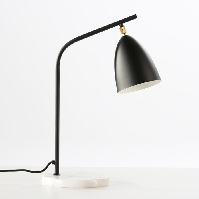 Tischlampe Mit Lampenschirm 37X22X54 Marmor Black Metal