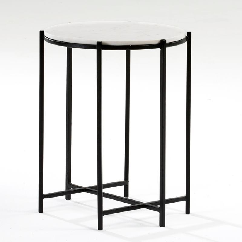 Table d'appoint, bout de canapé 43x53 Métal Noir Marbre Blanc