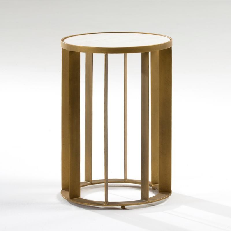 Table d'appoint, bout de canapé 42x61 Métal Doré Marbre Blanc - image 53882