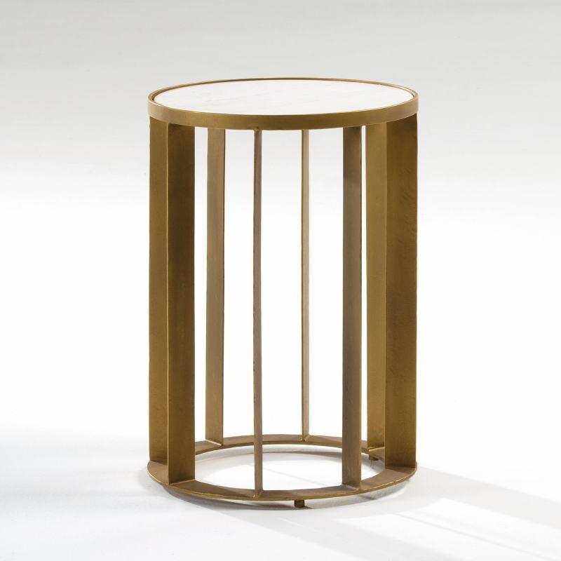 Table d'appoint, bout de canapé 42x61 Métal Doré Marbre Blanc - image 53883