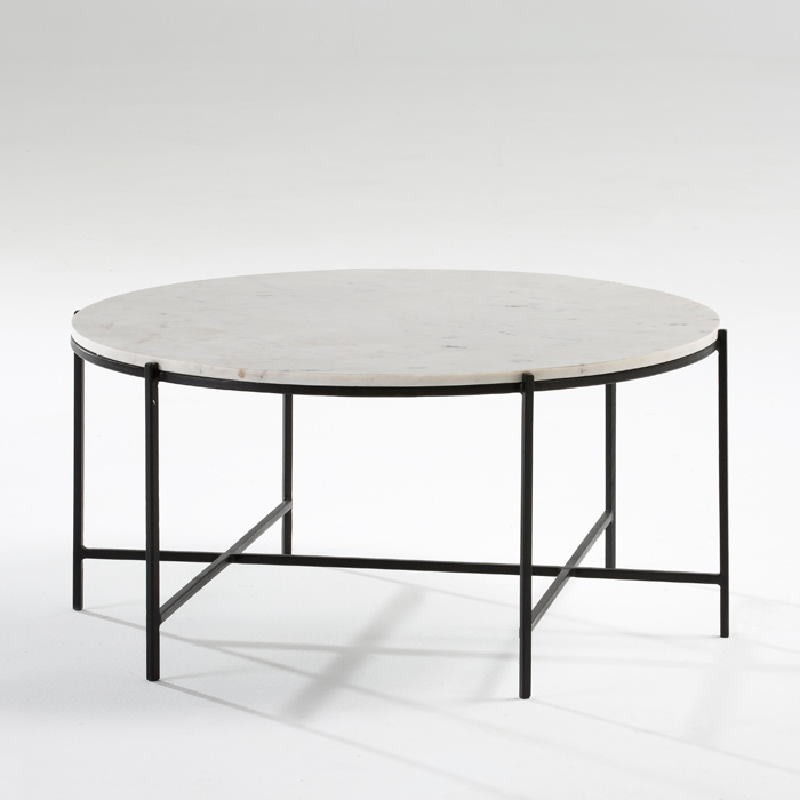 Coffee Table 86X41 Metal Black Marble White