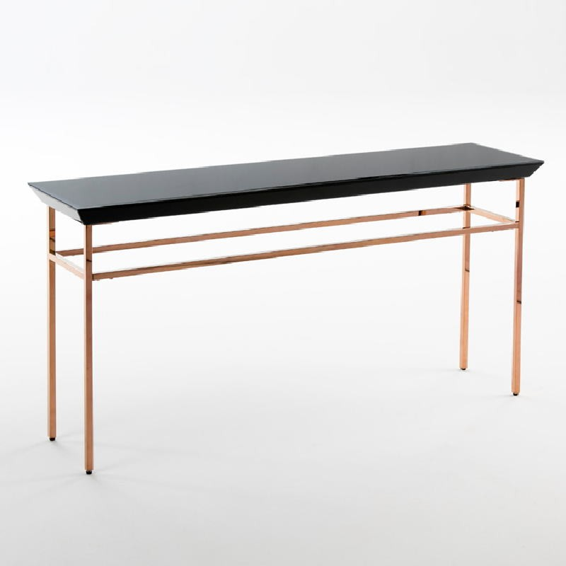 Console 160X40X80 Rose Gold Stainless Glass Black