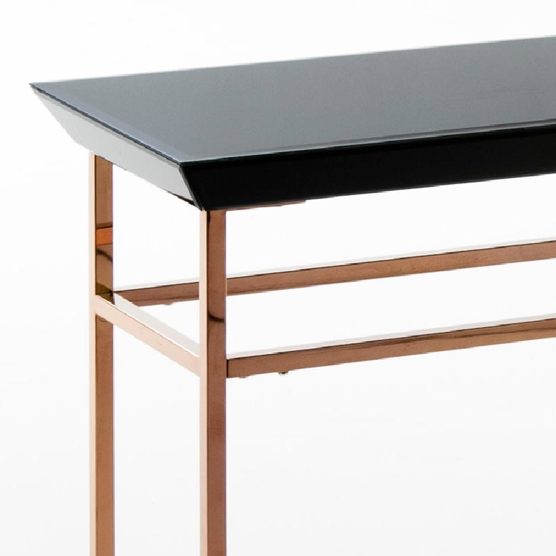 Console 160X40X80 Rose Gold Stainless Glass Black - image 53890