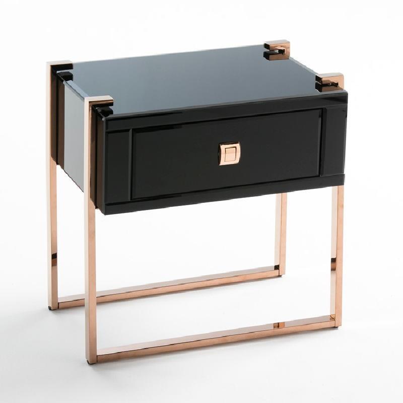 Table de chevet 54x40x56 Acier Or Rose Verre Noir