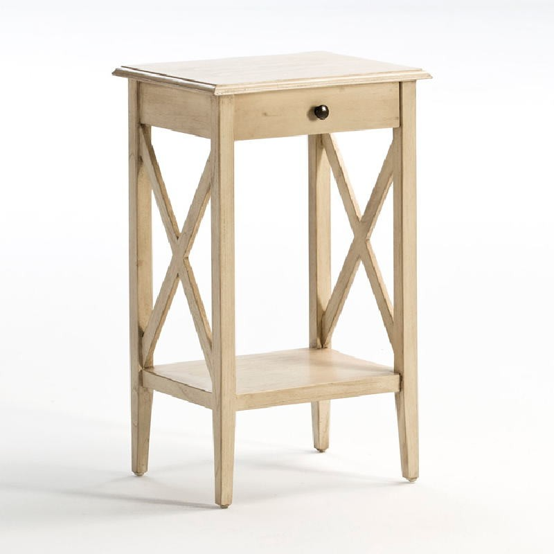 Bedside Table 42X35X70 Wood White Veiled - image 53898