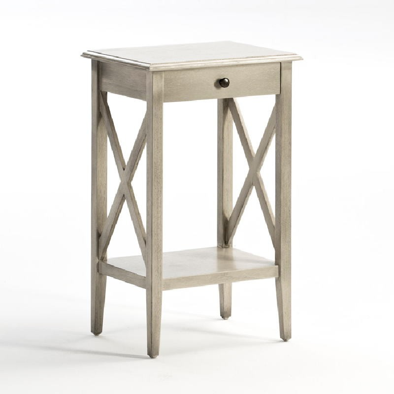 Bedside Table 42X35X70 Wood Grey Veiled