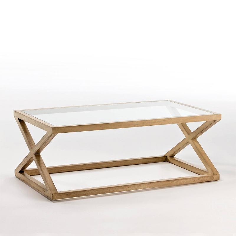 Table basse 120x70x45 Verre Bois Naturel Blanchi