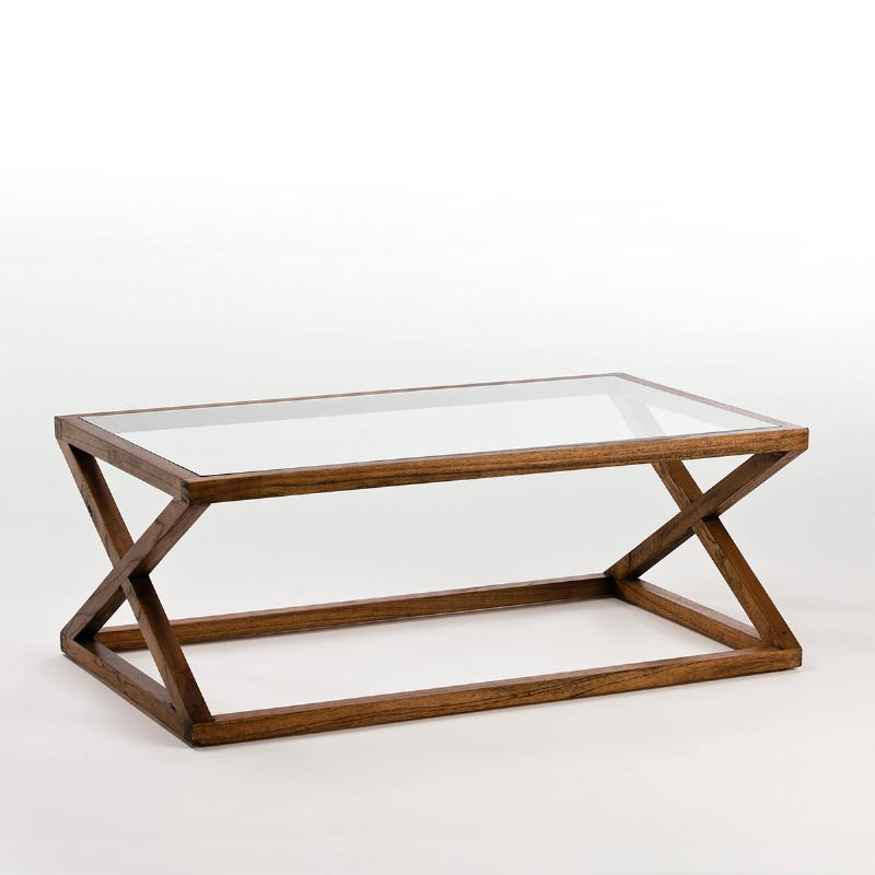 Coffee Table 120X70X45 Glass Wood Natural Veiled
