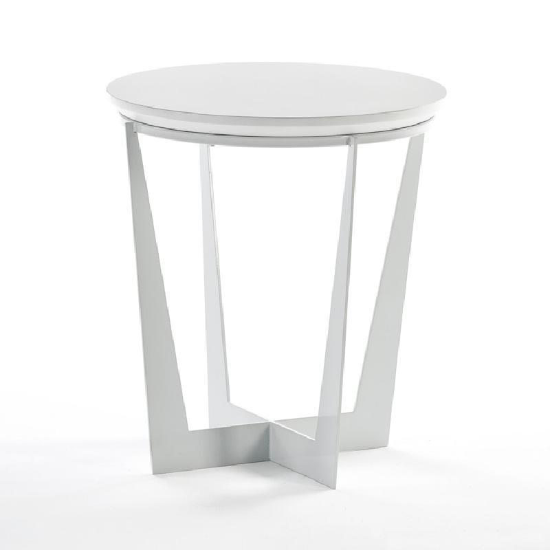 Table d'appoint, bout de canapé 50x50x55 Métal MDF Blanc