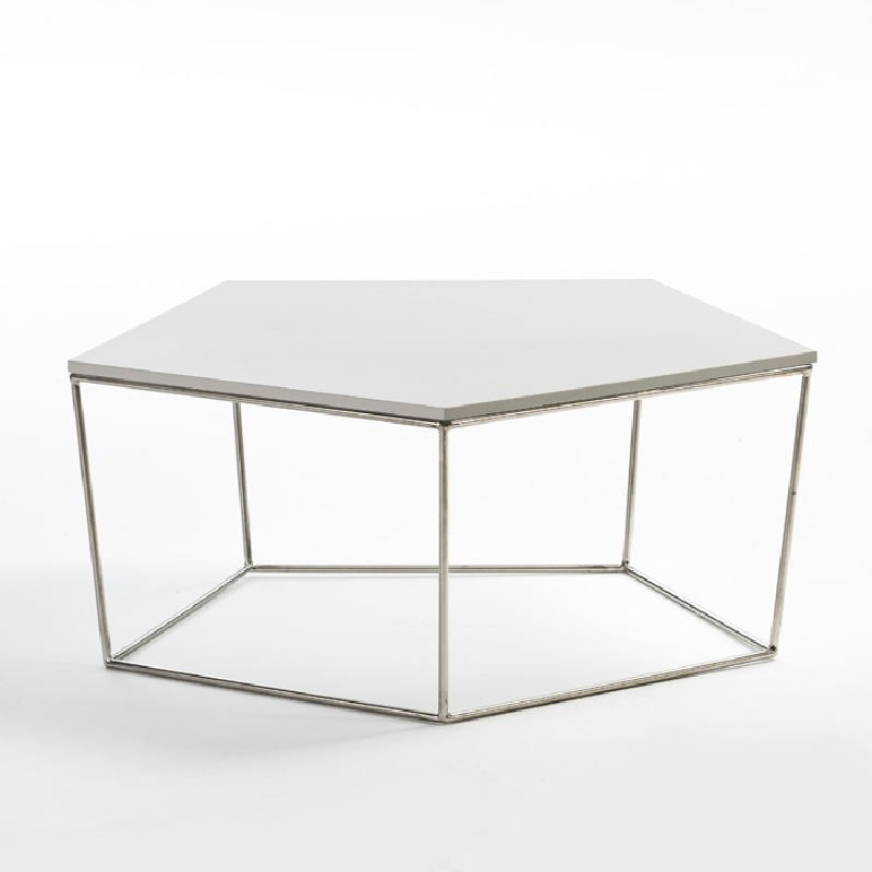 Coffee Table 95X90X38 Steel Mdf White