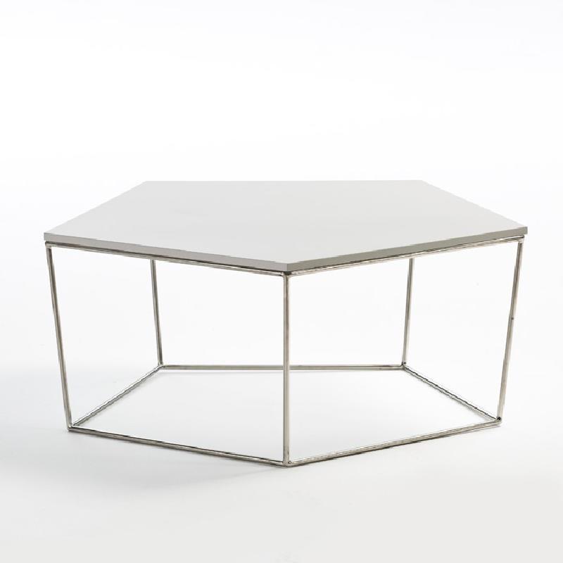 Table basse 95x90x38 Acier MDF Blanc