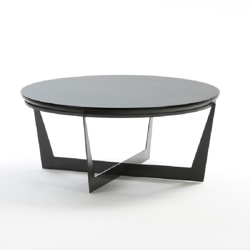 Coffee Table 90X90X38 Metal Mdf Black