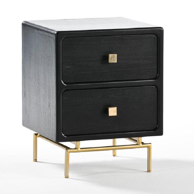 Table de chevet 2 tiroirs 52x44x66 Métal Or Bois Noir - image 53927
