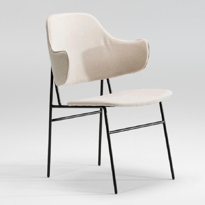 Chaise 52x58x78 Métal Noir tissu Beige