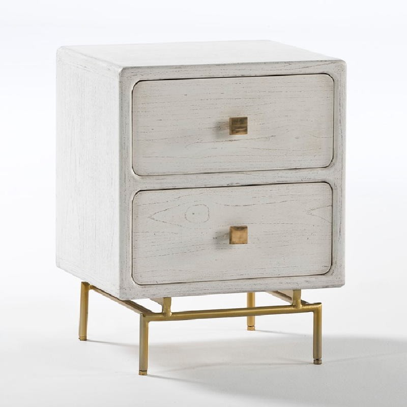 Bedside Table 2 Drawers 52X44X66 Metal Gold Wood White