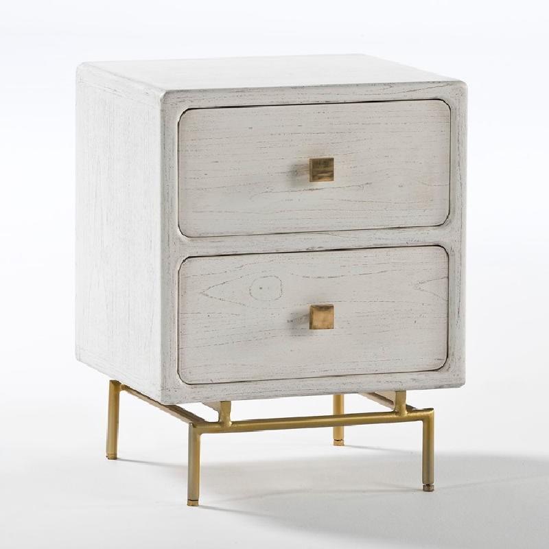 Nachttisch 2 Schubladen 52X44X66 Metall / Holz Gold/Weiß