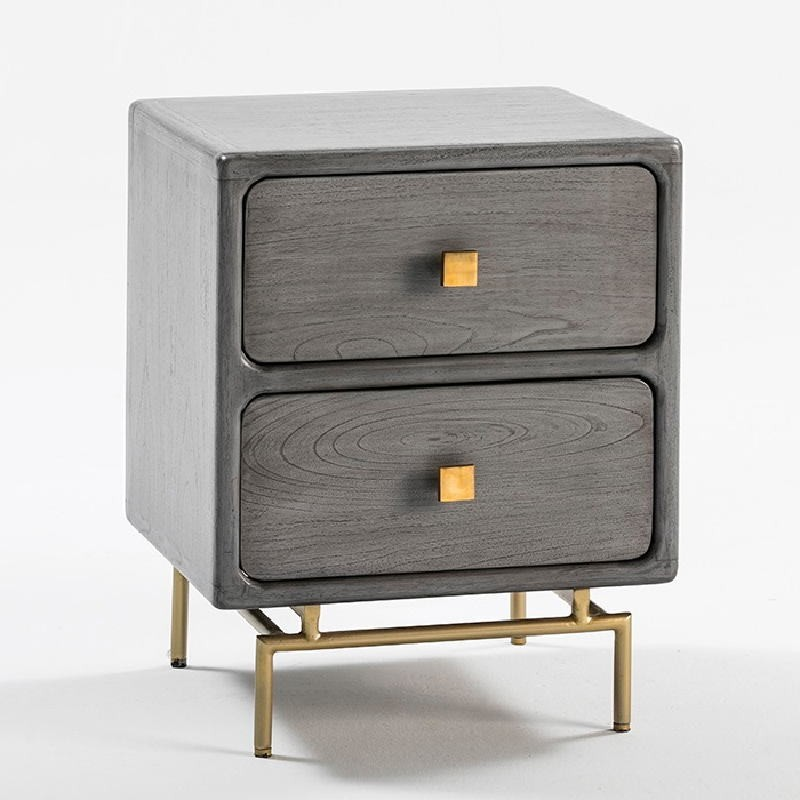 Bedside Table 2 Drawers 52X44X66 Metal Gold Wood Grey