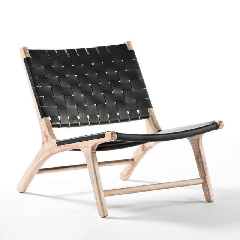 Armchair 64X80X70 Wood White Washed Leatherblack - image 53968