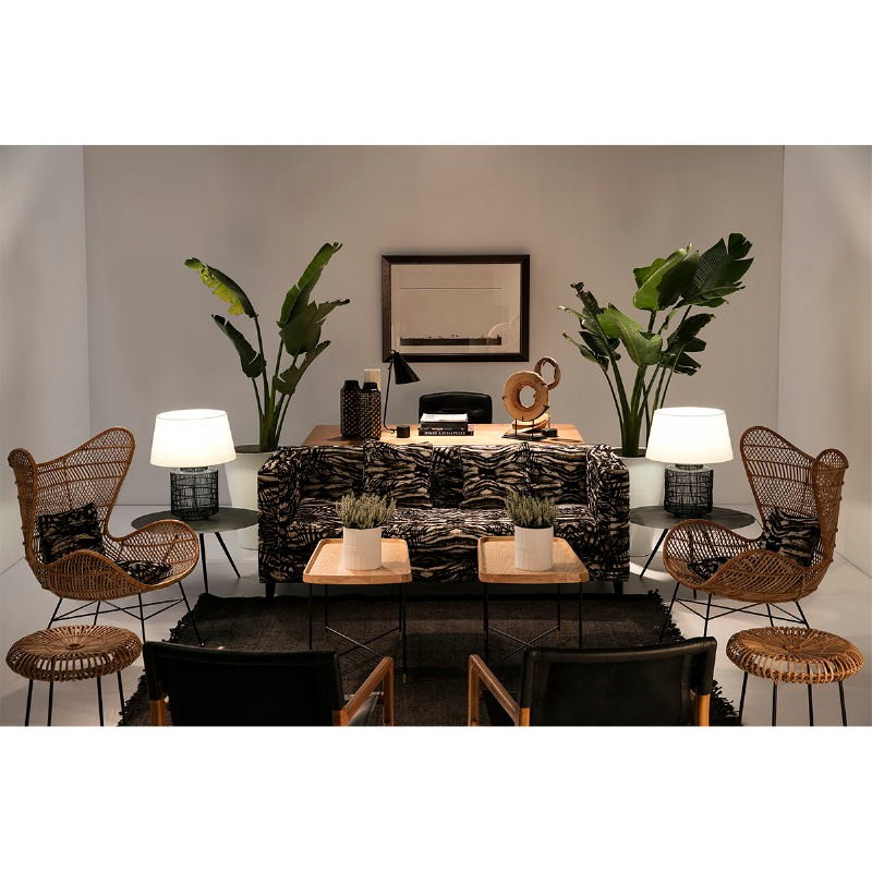 Armchair 66X77X78 Teak Wood Natural Leather Black - image 53973