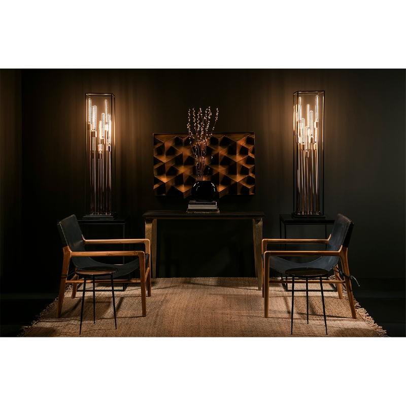 Armchair 66X77X78 Teak Wood Natural Leather Black - image 53974