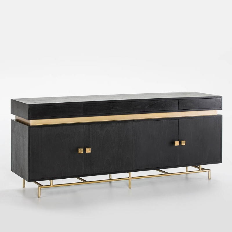 Sideboard 4 Doors 4 Drawers 180X45X75 Wood Black Metal Gold