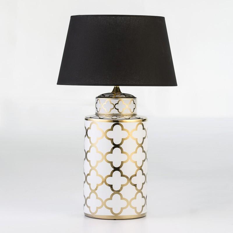 Lampe de Table sans abat-jour 23x23x51 Céramique Blanc Doré - image 54000