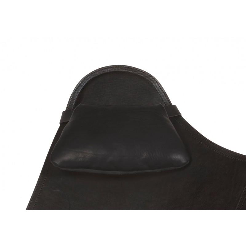 BUTTERFLY Italian leather armchair removable headrest (black)
