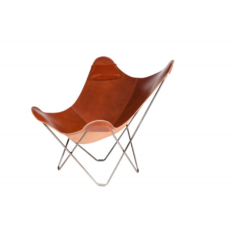 BUTTERFLY Italian leather armchair headrable (brown) - image 54006